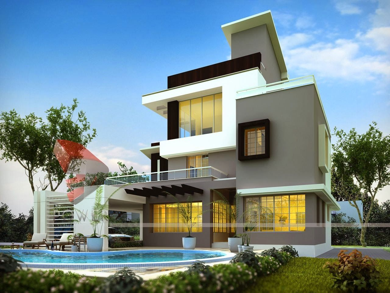 3D+Rendering+Modern+Bungalow.JPG (1280×960) | residence elevations ...