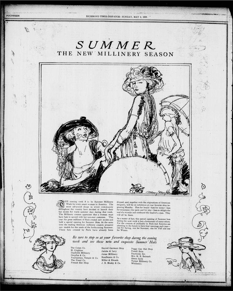 "Summer: The New Millinery Season,"" Richmond Times-dispatch"