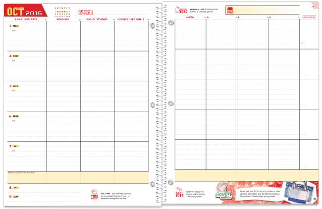 MiddleSchoolStudentPlannerTemplate  Color    Planner