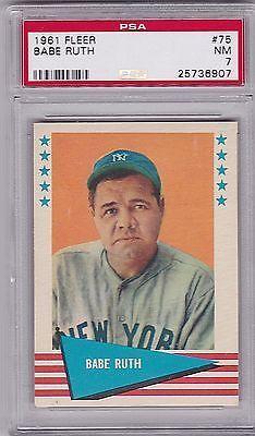 1961 Fleer Babe Ruth 75 Hof Psa Nm 7 Yankees Baberuth Babe Ruth Babe Ruth Baseball Baseball Cards