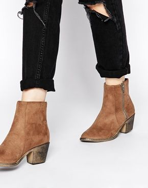 London Rebel Zip Heeled Ankle Boots
