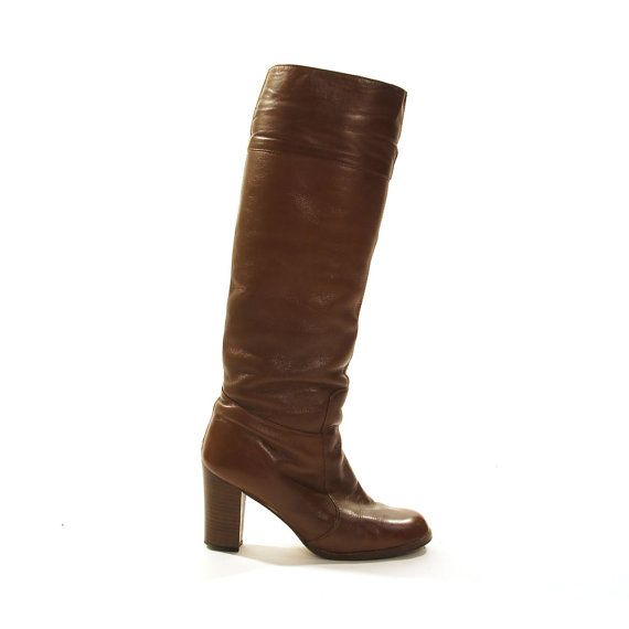 cefd28c4ec0 Leather Riding Boots Vintage 80s Brown Leather Knee High Hippie Boho ...
