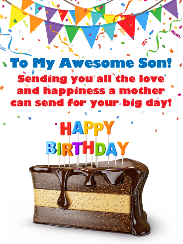 Fabulous Chocolate Cake Happy Birthday Card For Son From Mother Birthday Greeting Cards By Davia Birthday Cards For Son Happy Anniversary Messages Happy Birthday Cards