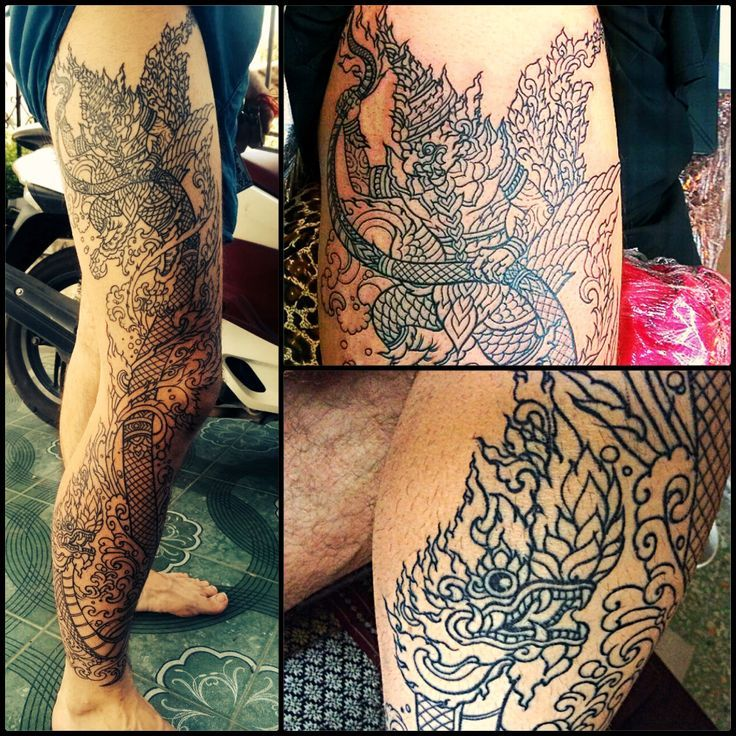 traditional thai leg tattoo - Google Search | Thai tattoo ...