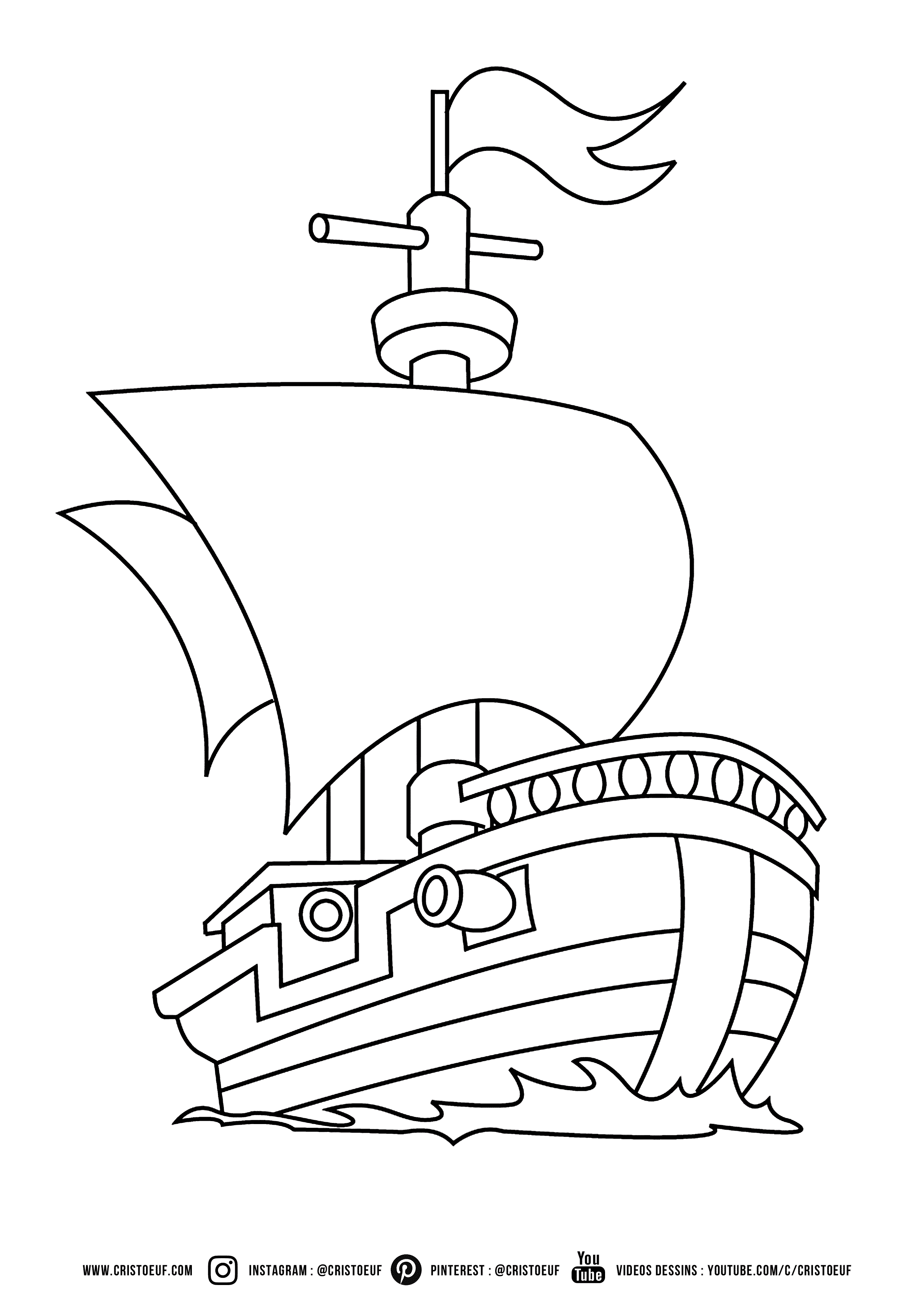 Coloriage Pirate Boat Cartoon Enfant Coloring For Kids