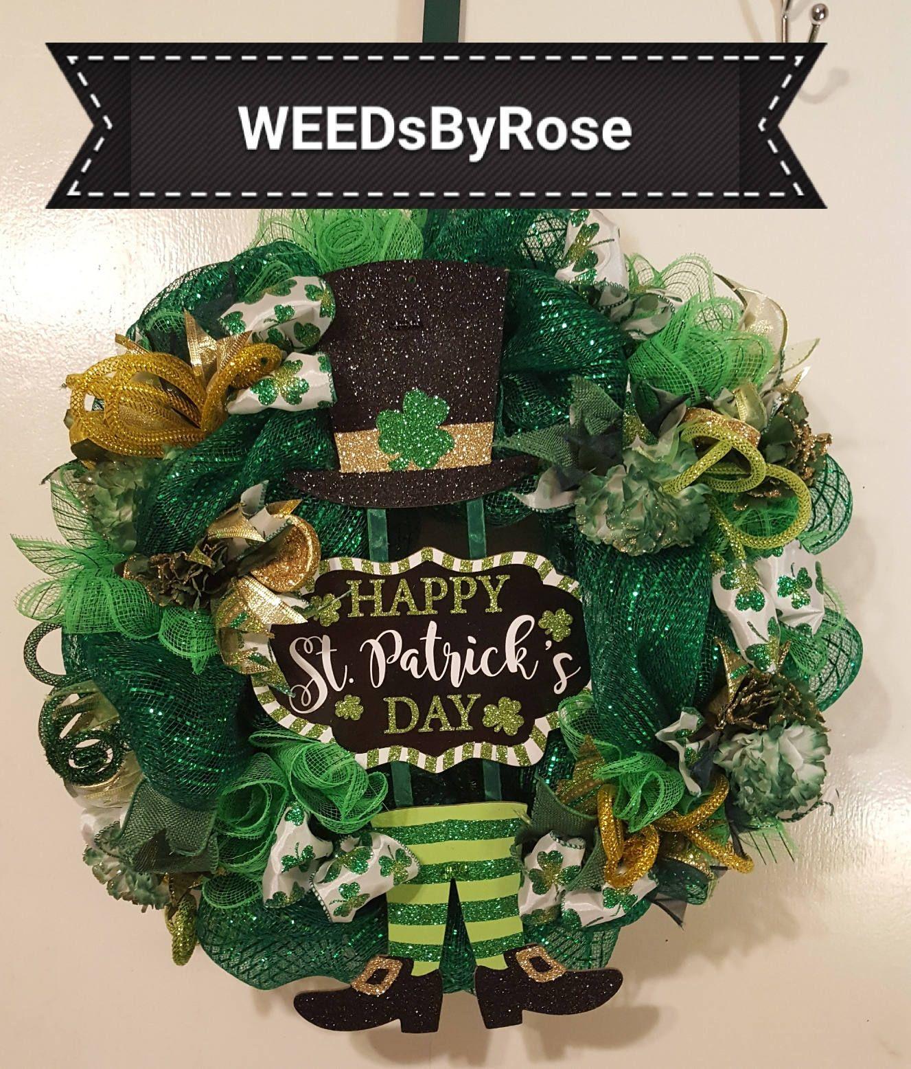 St Patricks Day Wreath, Luck Of The Irish Wreath, Shamrock