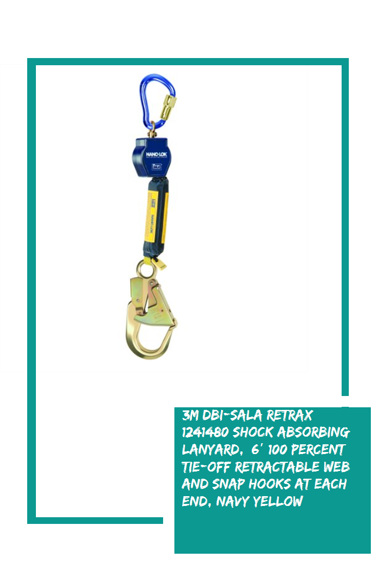 3M DBISALA Retrax 1241480 Shock Absorbing Lanyard, 6′ 100
