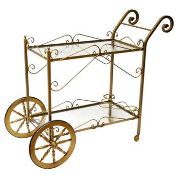 Check out this item at One Kings Lane! Brass Scrolled Bar Cart