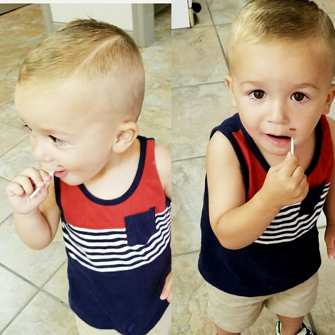 Adorable and handsome toddler little boys hairstyle haircut hard
