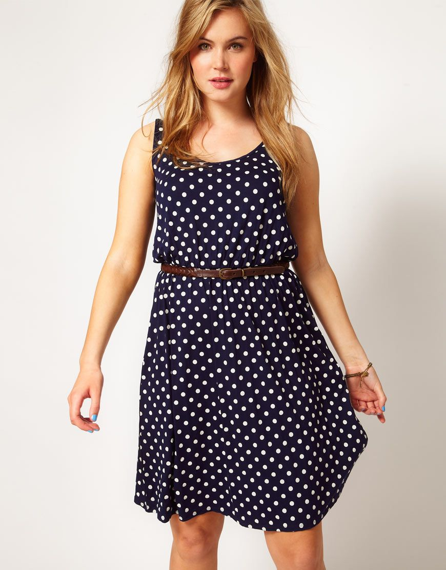 ASOS CURVE Midi Dress In Spot Print        This plus size dress by ASOS CURVE has been crafted from a stretch jersey, with a soft hand feel. The details include: a scoop neckline, wide shoulder straps, a spot print, a high, fitted waist with a contrast pin buckle belt, gathered pleats to the skirt and a dipped back. The dress has been cut with a fluid fit.