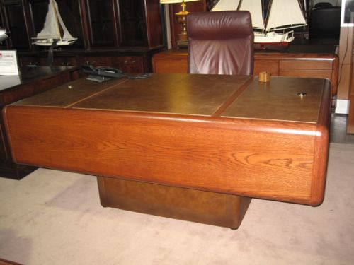 Myrtle Mid Century Oak Amp Leather Executive Desk Amp Credenza