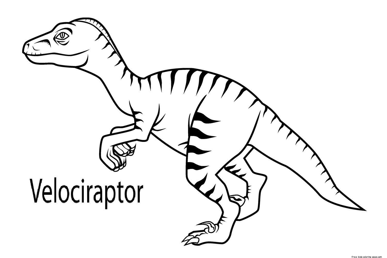 Printable Dinosaur Velociraptor Coloring Pages Jpg 1500 1000 Kleurplaten Prints Dinosaurus
