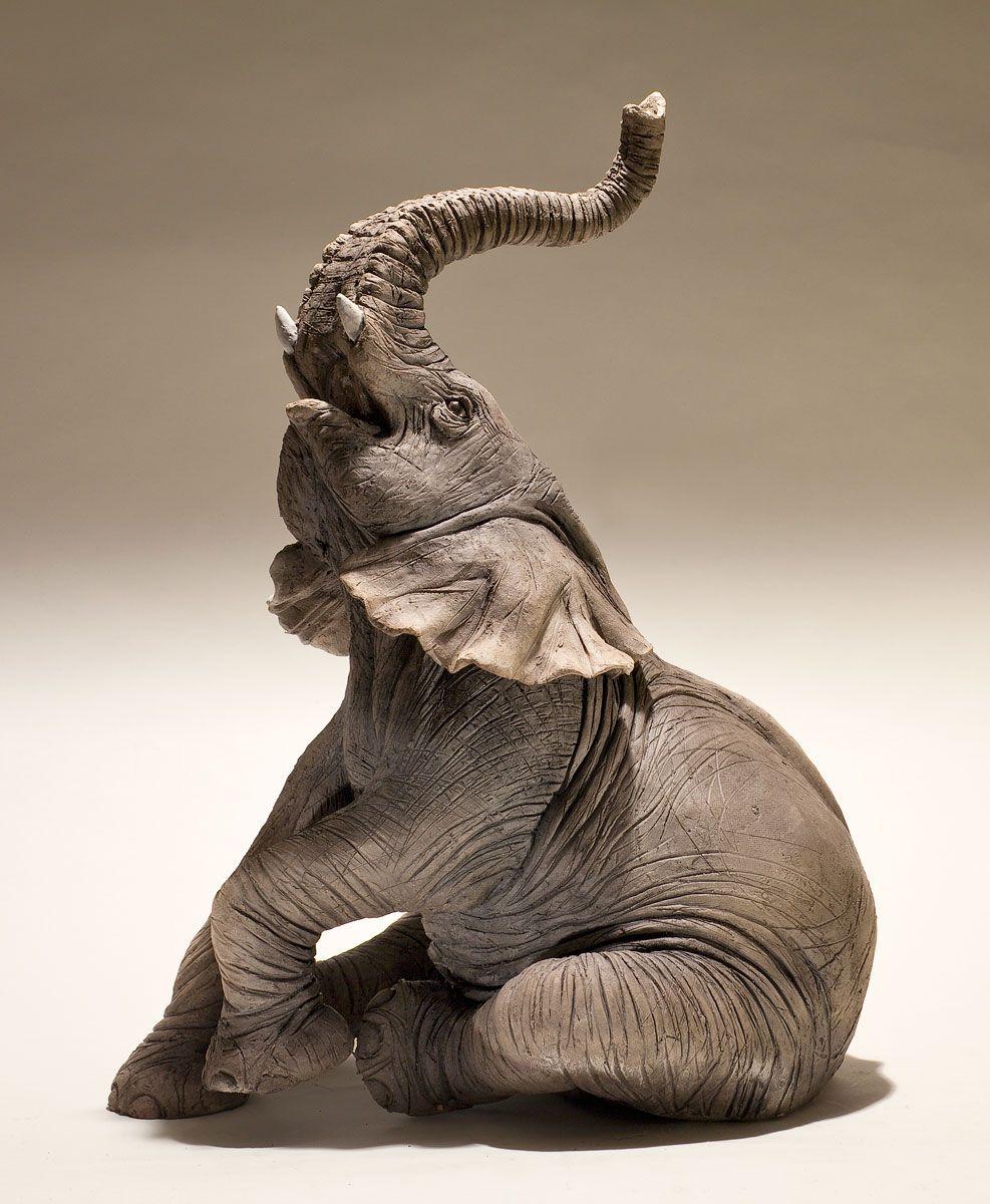 Elephant Sculpture - Nick Mackman Animal Sculpture | Clay ...