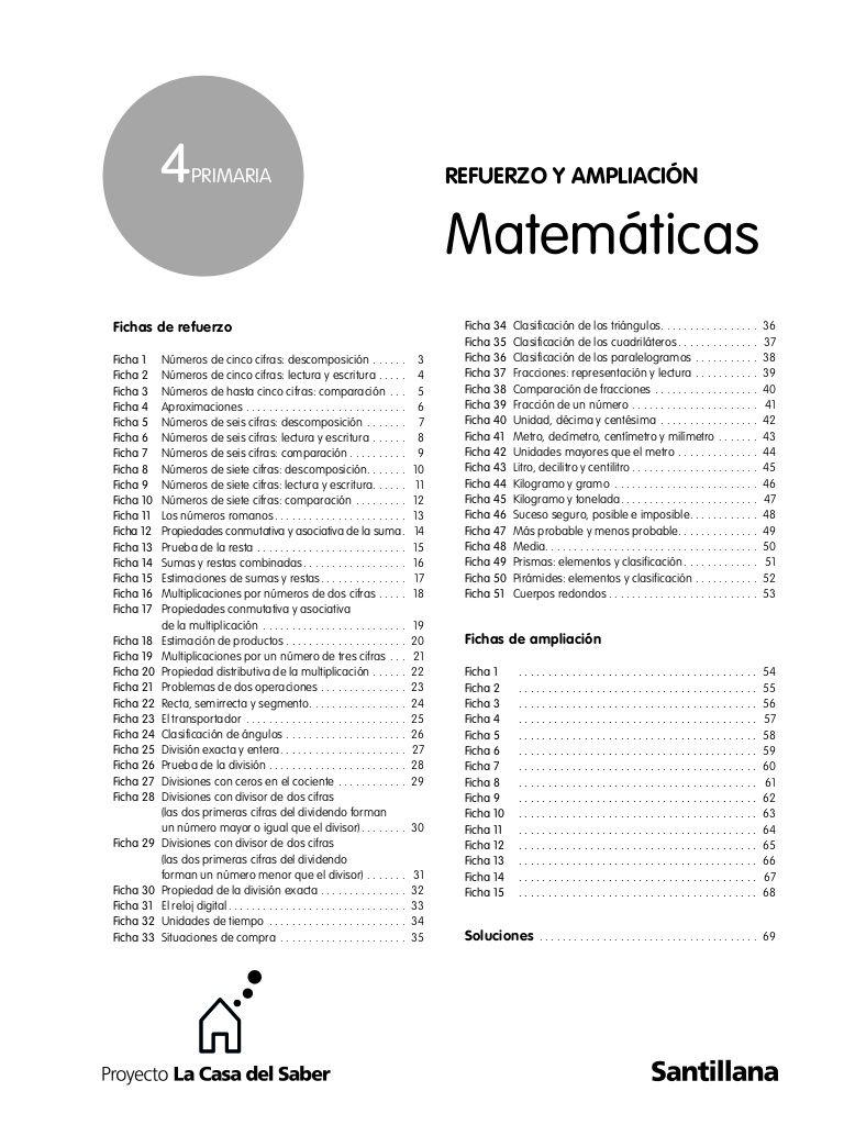4 REFUERZO Y AMPLIACIÓN PRIMARIA Matemáticas Fichas de