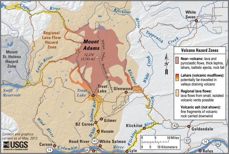 Mt Adams Washington Map.Mount Adams Washington Simplified Hazards Map Showing Potential