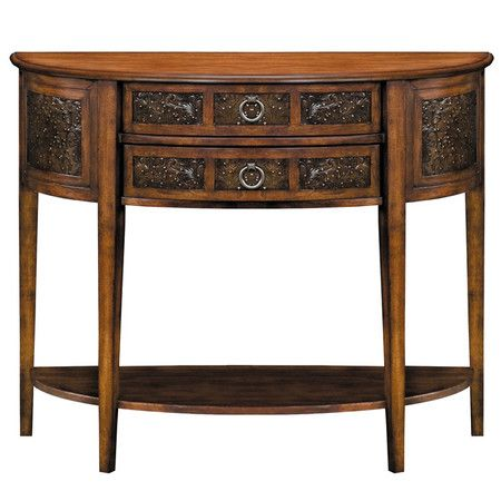 2 Drawer Demilune Console Table With Stamped Metal Facings Product Construction Material Engi
