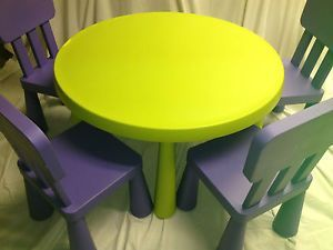 IKEA Children Mammut Green Round Kids Table 4 Purple Chairs Play Furniture
