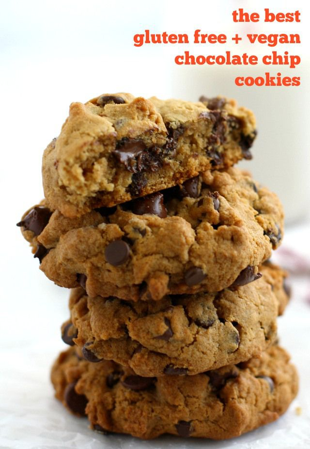 These gluten free and vegan chocolate chip cookies are thick, chewy, and loaded with chocolate chips! You have to try these bakery style cookies - so good! #glutenfree #vegan #dairyfree