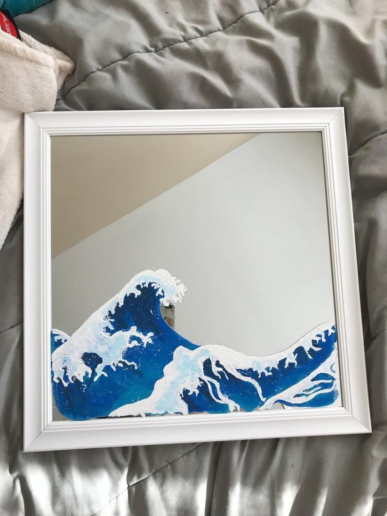 Ocean Waves Painted Mirror In 2020 Mirror Painting Painted Mirror Art Wave Painting