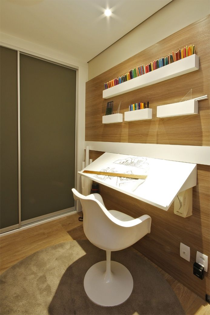 Mesa Fixa Parede ~ Estudante de arquitetura 1 u00aa opç u00e3o bancada inclinada fixa a parede, com nichos para suporte de