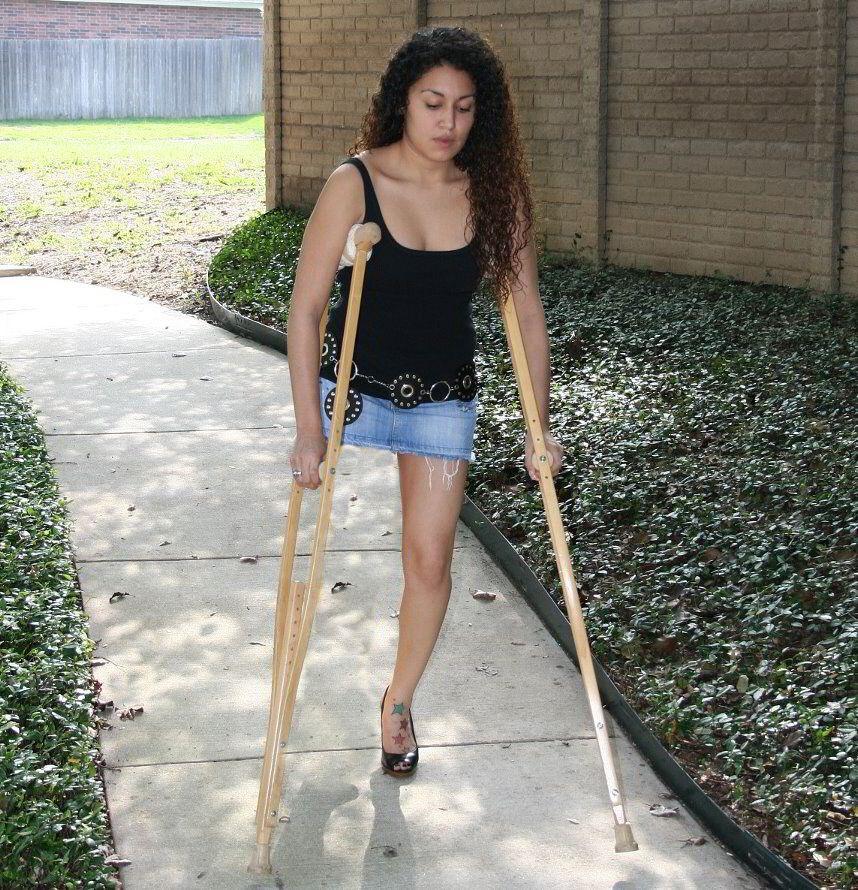 Women Amputee Crutches Crutching Video