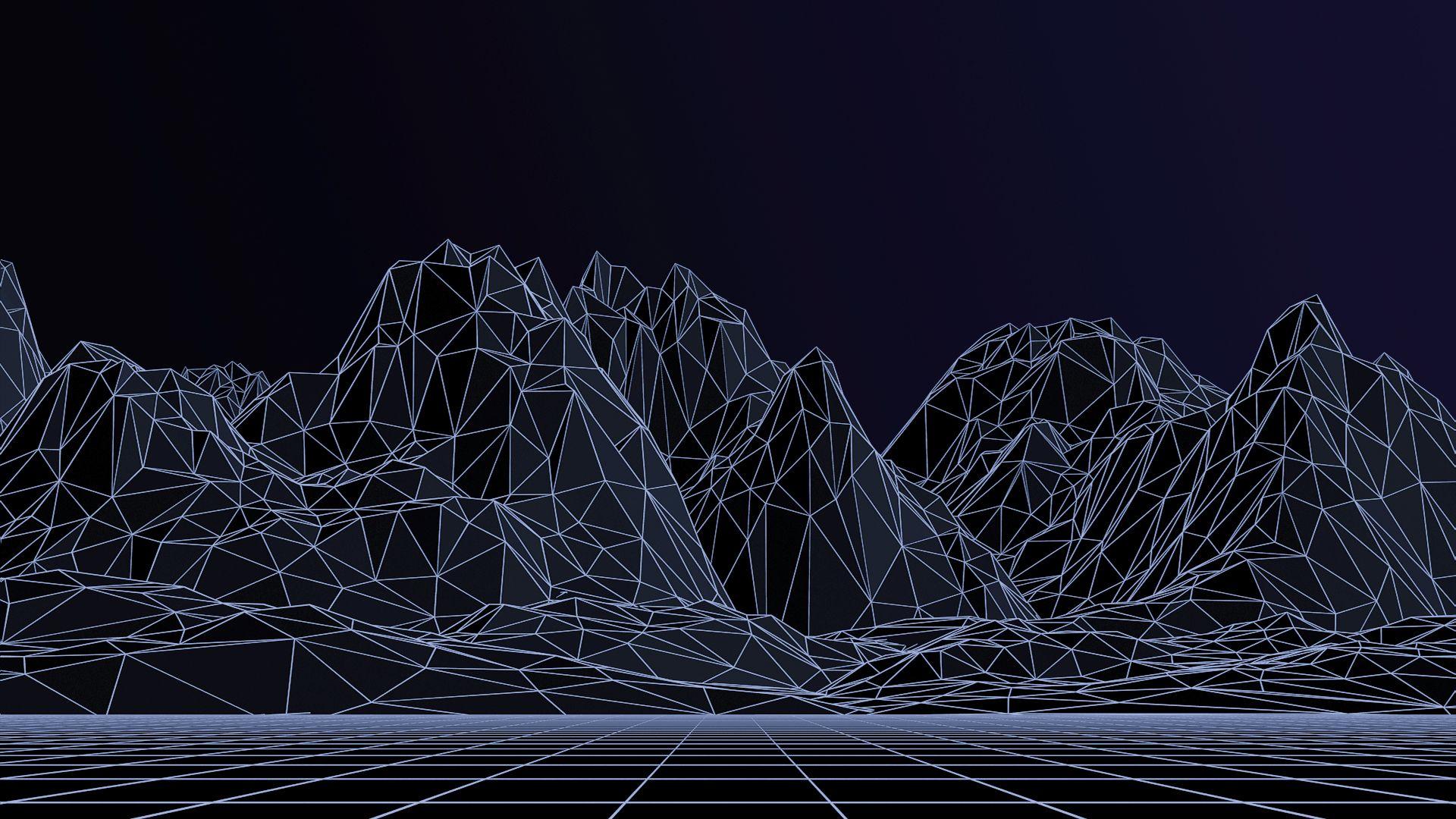 Digital Triangle Landscape Wallpaper 4 Elements
