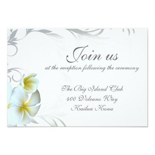 plumeria flourish reception venue enclosure card  addressing, invitation samples