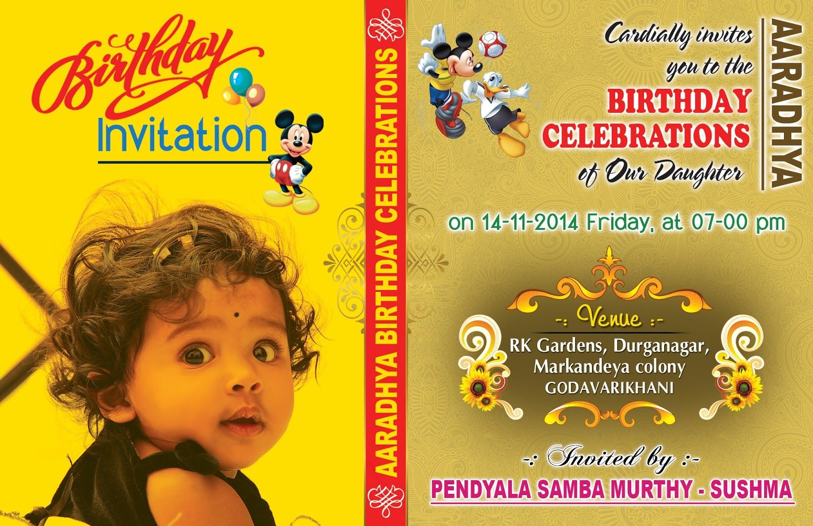 Birthday Invitation Card With Yellow Background Completing Unique And Simple Design Also Elegant Green A Cute Baby Girl