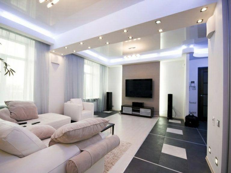 led indirekte beleuchtung über dem sofa im wohnzimmer