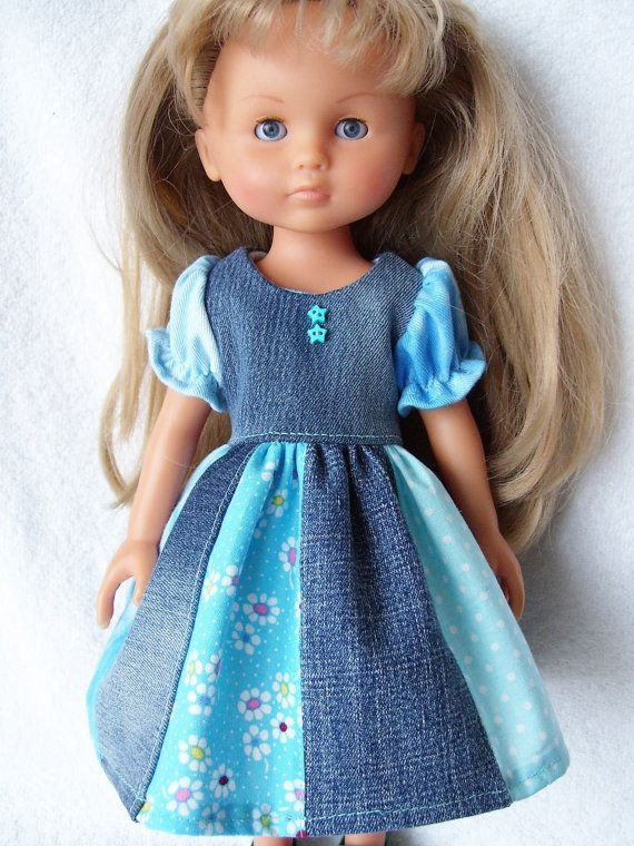 Corolle Doll Clothes, Denim Patchwork Dress, fits 13inch-14inch Dolls