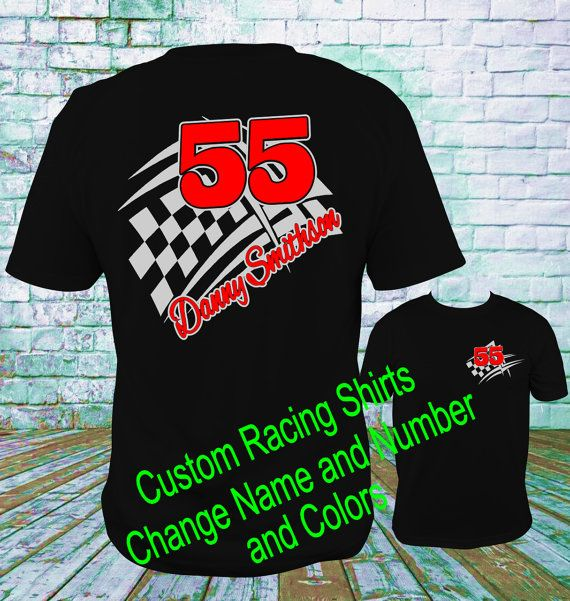 8f27dc40 Custom Personalized Racing Shirts Design 1 Dirt Track Racing, Sprint Car,  Late Model, Drag Racing, M