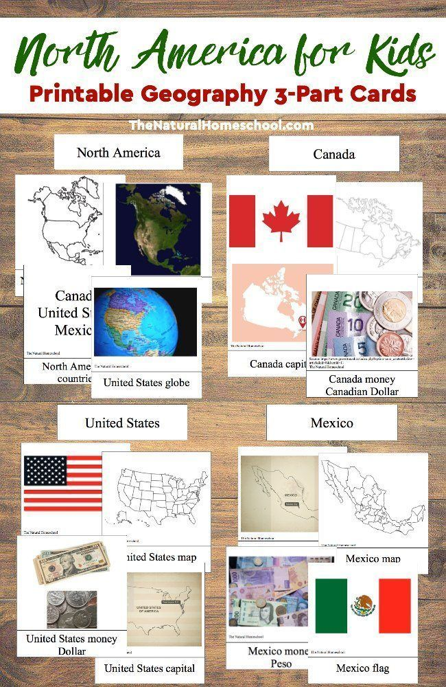 North America for Kids - Printable Geography 3-Part Cards - The Natural Homeschool