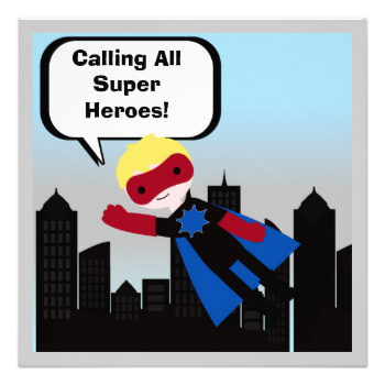 If it's a super hero birthday party he's having he'll love our super hero birthday invitations that you can easily customize with your party specifics. This Super Hero birthday invitation features a blond haired boy super hero! #boy #super #hero #heroes #superhero #kids #blond #boy #childrens #birthday #peacockcards #invitation #parties #super #boy