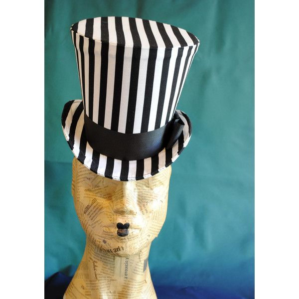 726f28a202ff Striped Gothic Top Hat,Steampunk Circus Black and White WOMEN's Top...  ($166) ❤ liked on Polyvore featuring costumes, black and white halloween  costume, ...