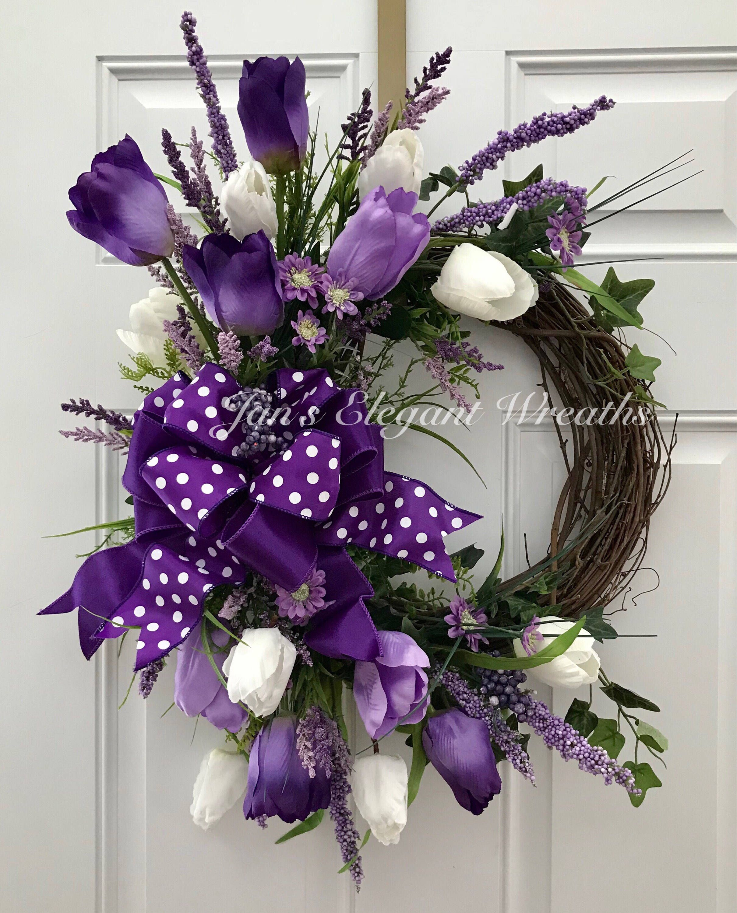 Spring Wreath. Purple Tulip Wreath. A personal favorite from my Etsy shop https://www.etsy.com/listing/590991129/spring-wreath-spring-tulip-wreath-purple