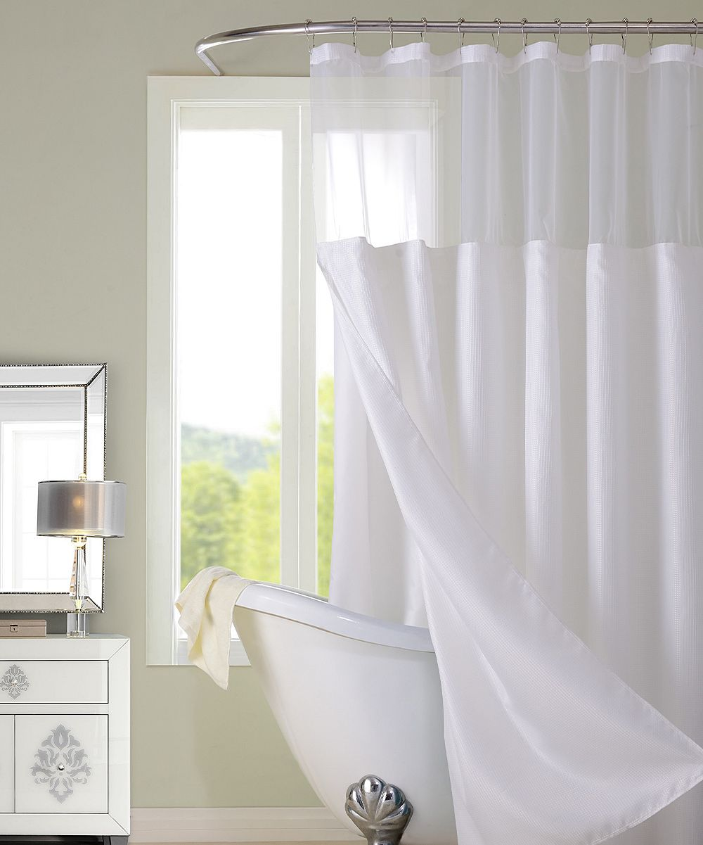 White Hotel Sheer Top Shower Curtain