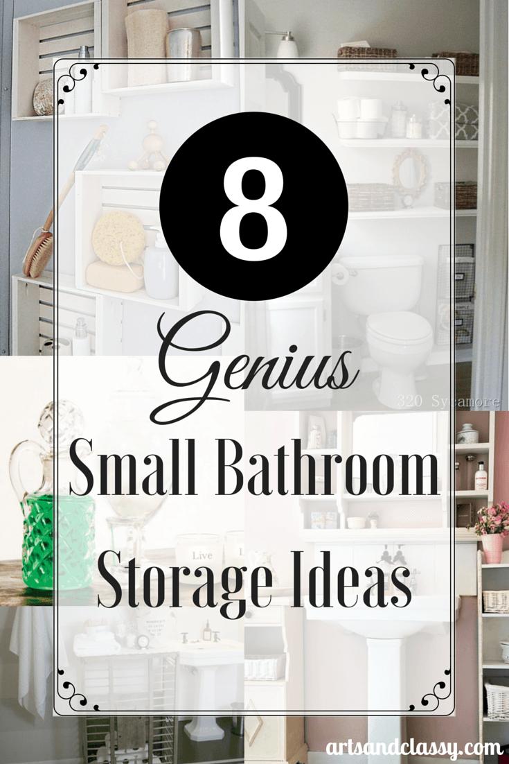 8 genius small bathroom storage ideas via www.artsandclassy.com