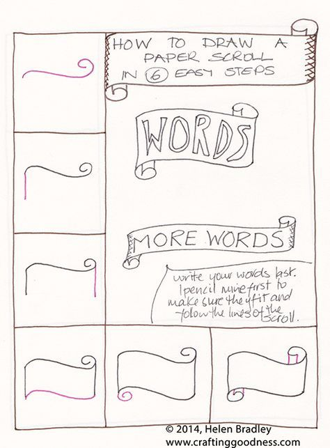 Draw A Word Scroll Banner Step By Step Learn To Draw Banner Drawing Step By Step Drawing Zentangle Patterns