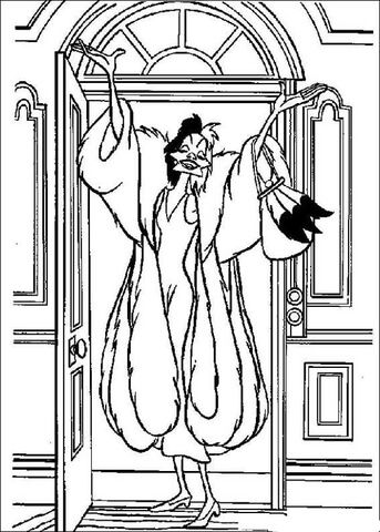 Cruella De Vil Coloring Page From 101 Dalmatians Category Select From 27595 Printable Crafts Of Ca Cartoon Coloring Pages Disney Coloring Pages Coloring Pages