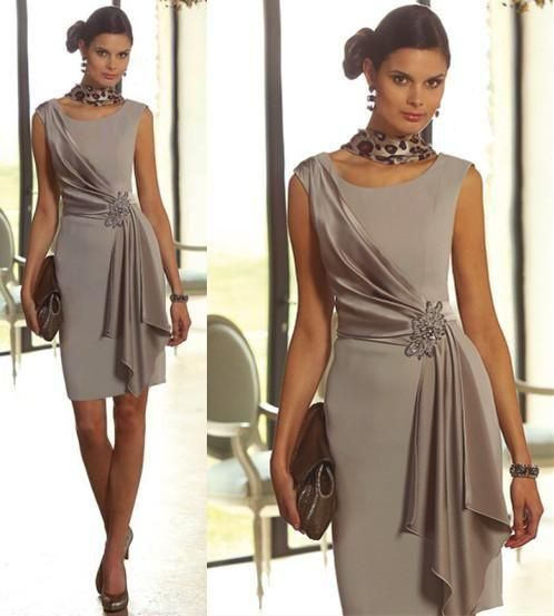 Bridal Mother Of The Bride Dresses Plus Size Short Sheath With Scoop Neck Cap Sleeve Beaded Mini Mother Of The Groom Gowns Silve #groomdress