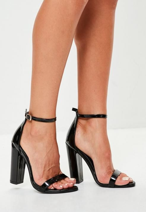 new arrival amazing selection exquisite design Missguided Black Block Heel Barely There Sandals | Black ...