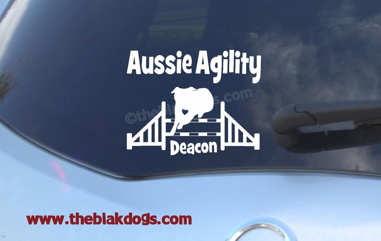 Aussie Agility Jump Personalized Custom Name Vinyl Sticker Etsy Custom Vinyl Stickers White Vinyl Sticker Vinyl Sticker [ 948 x 1500 Pixel ]