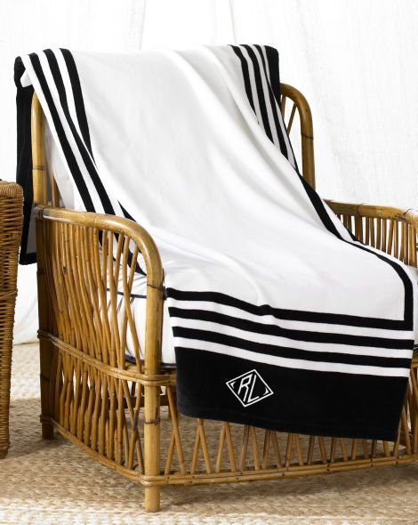Rl Art Deco Frame Beach Towel Ralph Lauren Home Beach Towels