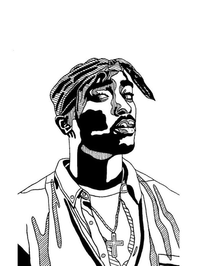 Paperfoxnl Tupac Shakur Black And White Fineliner