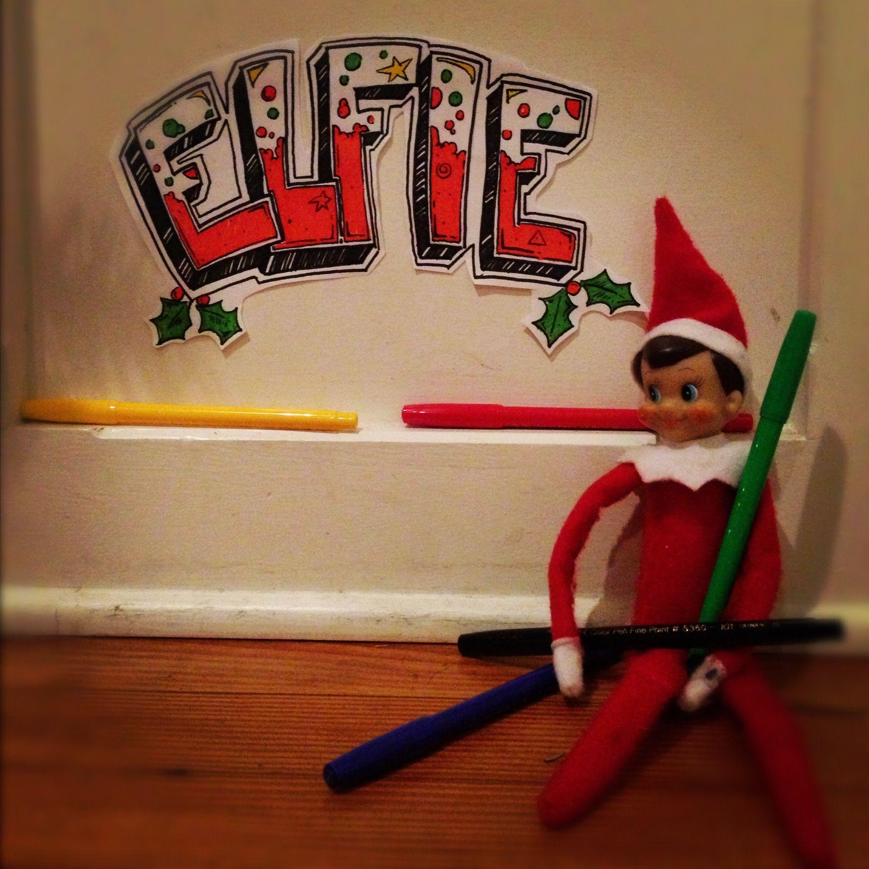 Christmas Graffiti Background.Elf Graffiti Elf On The Shelf Ideas Elf On The Shelf