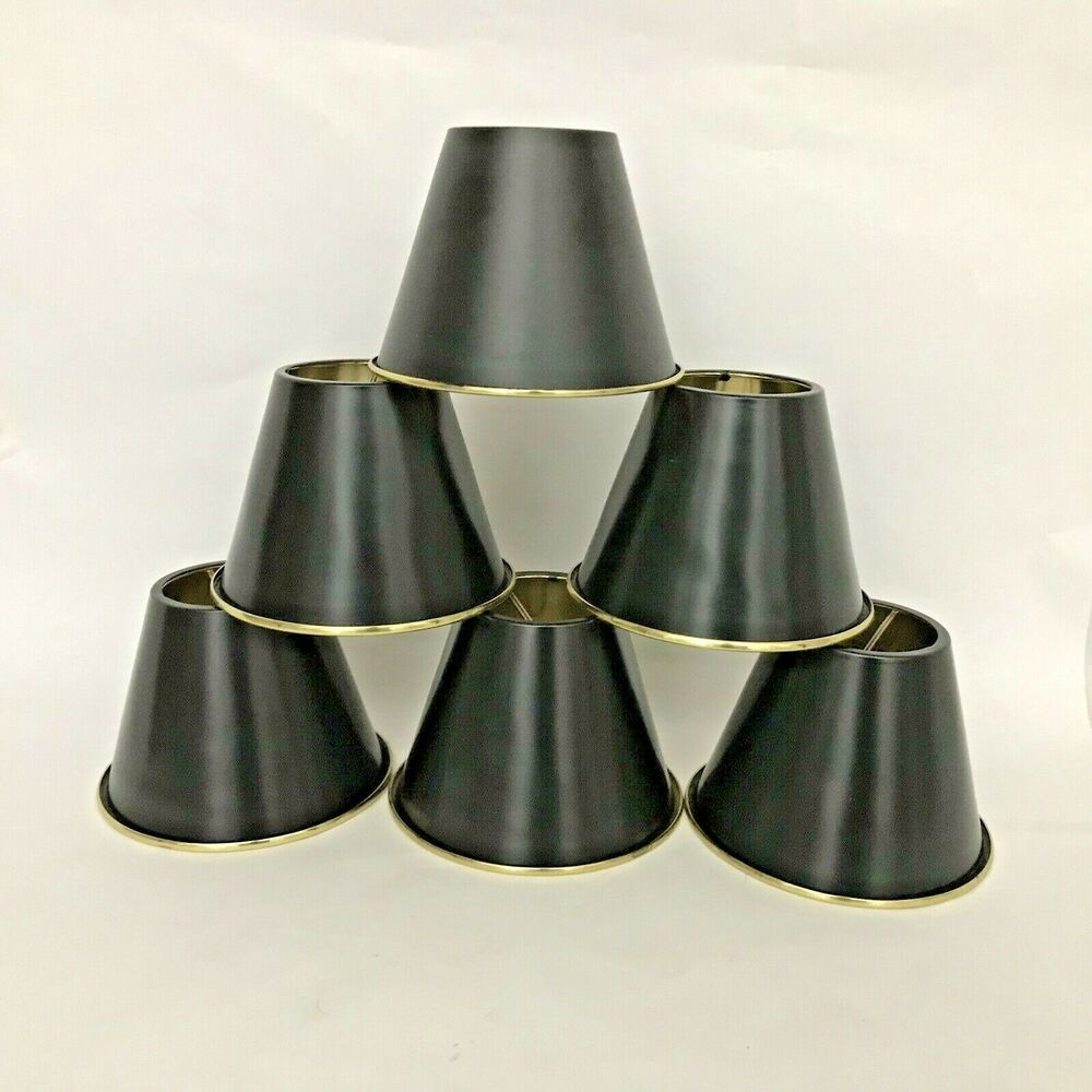 Set 6 Black With Brass Metal Lamp Shades Clip On Chandelier Metal Lamp Shade Fabric Pendant Chandelier Shades