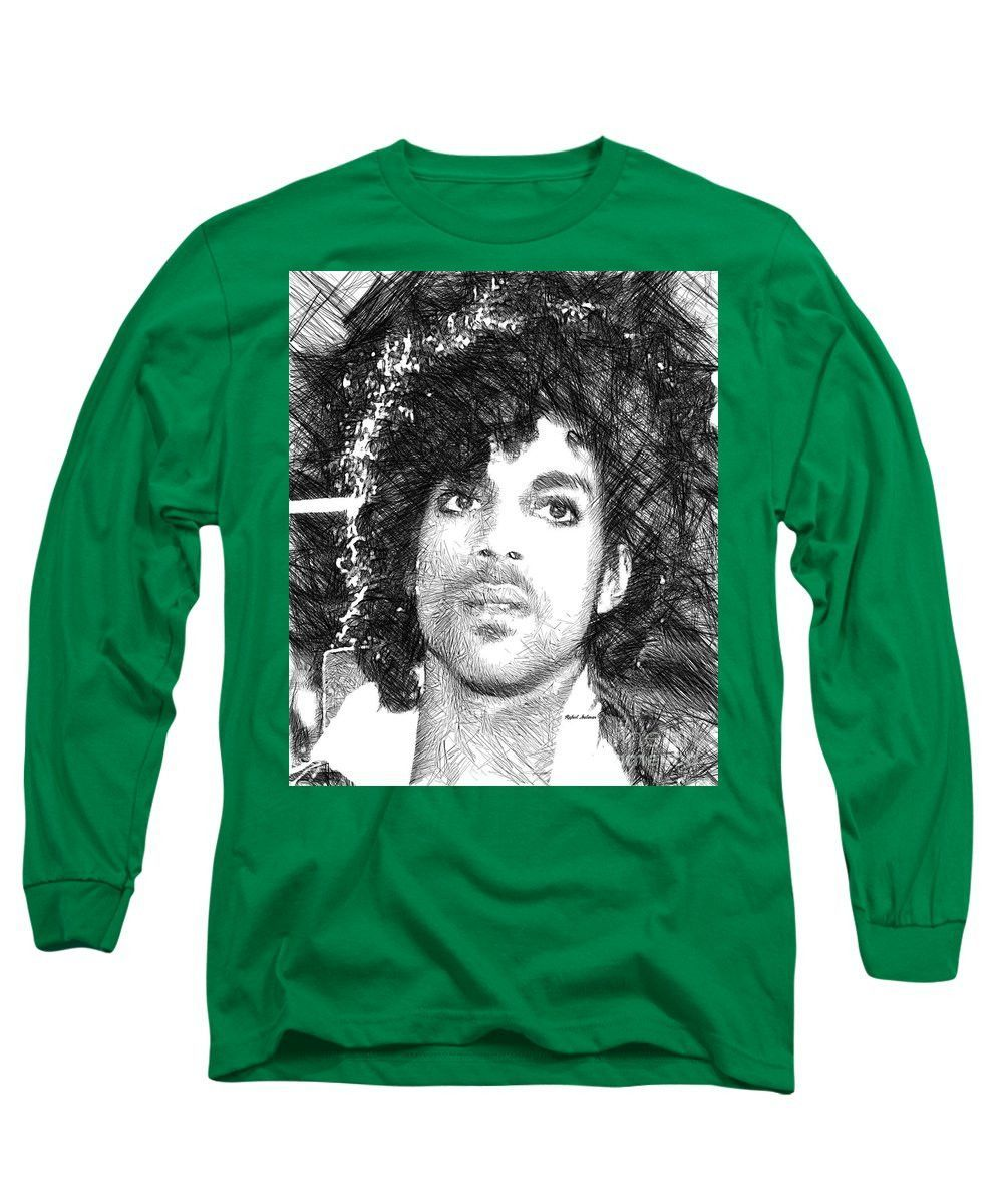 Long Sleeve T-Shirt - Prince - Tribute Sketch In Black And White 3
