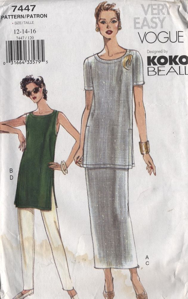 Vogue Pattern Womens Tunic Pencil Skirt Semi Fitted Pant Tapered