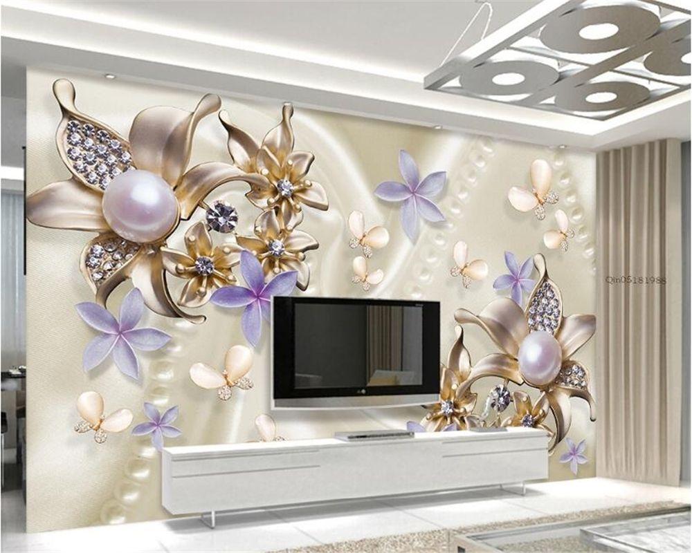Beibehang Custom Wallpaper Pearl Diamond Flower Butterfly Romantic Living Room Bedroom Tv Sofa Bac Dining Room Wallpaper Purple Home Decor Romantic Living Room 3d wallpaper home decor