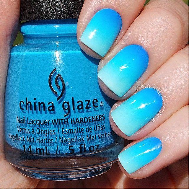 Blue Ombre Nails | Nails | Pinterest | Uñas faciles de decorar, Uñas ...